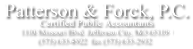 Jefferson City, MO Accounting Firm | IRS Tax Forms and Publications Page | Patterson & Forck PC
